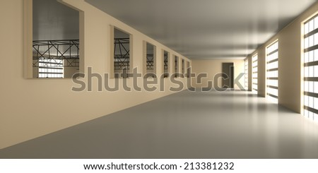 Empty operating room warehouse, 3d render - stock photo