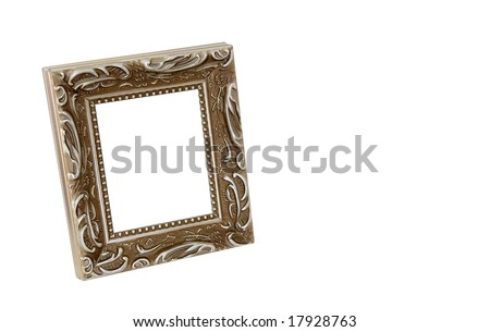 Empty ornate frame on white background with copy space - stock photo