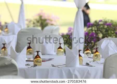 Empty outdoor restaurant - stock photo