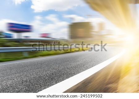 empty overpass of a city at day. - stock photo