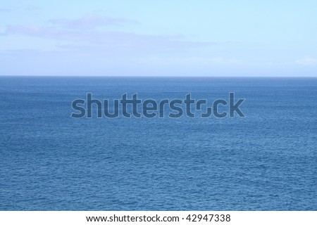 Empty Pacific Ocean and Sky at Hawaii - stock photo