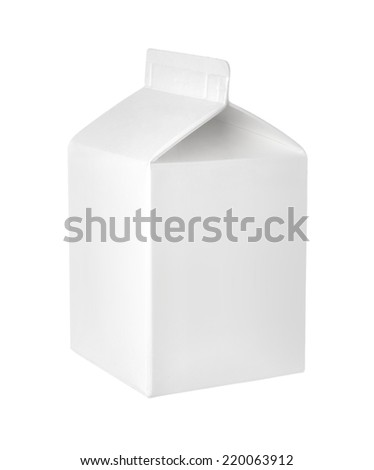 Empty packet of milk or juice on a white background