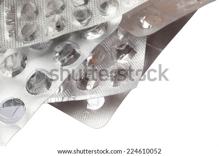 Empty packing from tablets isolated on white background - stock photo