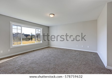 Lovely Unfurnished Living Room Carpet Fireplace Stock Photo