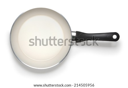 empty pan isolated on whitte abckground with clipping path - stock photo