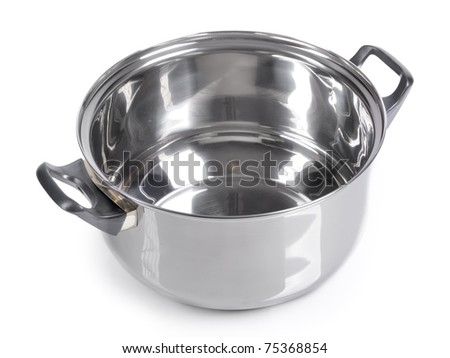 Empty pan on isolated on white background - stock photo
