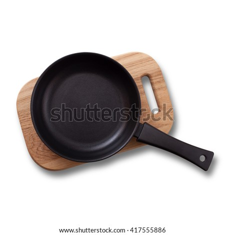 Empty pan on wooden deck isolated on white. Flat mock up for design. Top view. - stock photo