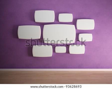 Empty panels on a purple wall - stock photo