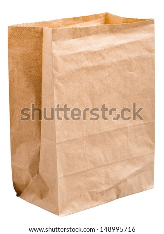 empty paper bag from the store is isolated on a white background - stock photo