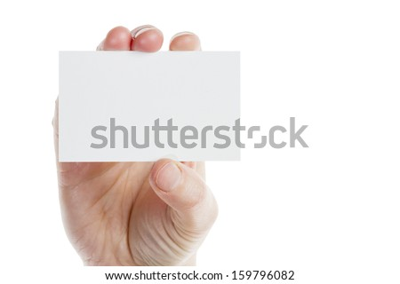 Empty paper card in woman hand isolated on white background  - stock photo