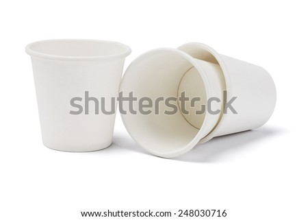 Empty Paper Cups On White Background