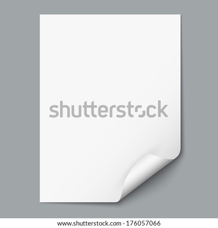 Empty paper sheet with curled corner. Raster version - stock photo