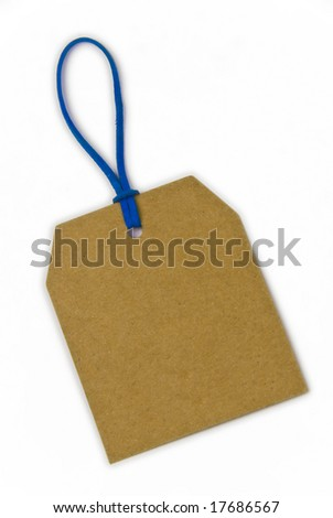 empty paper tag tied with blue string