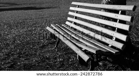 empty park bench - stock photo