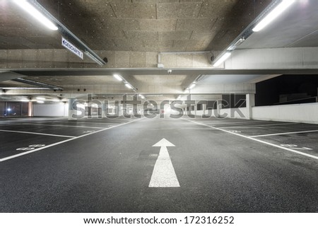 Empty parking garage - stock photo