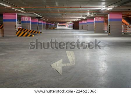 Empty parking garage on building. - stock photo