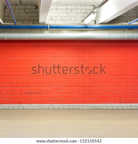 Empty parking lot wall, floor and ceiling. - stock photo