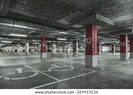 Empty parking lot wall. Urban, industrial background. - stock photo