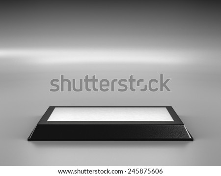 Empty Pedestal to Place Your Product on Gray Background - stock photo