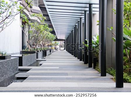 Empty pedestrian transition - stock photo