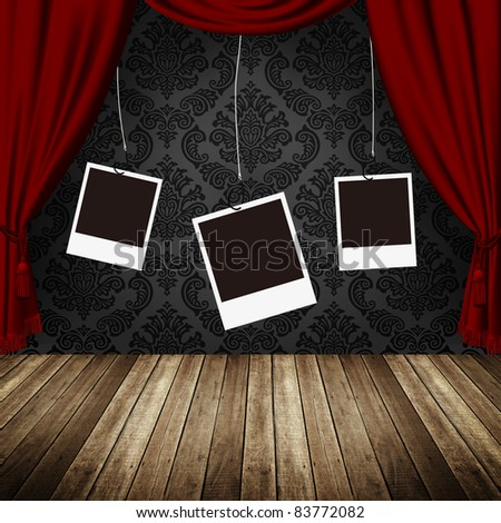 empty photo frames hanging against retro museum - stock photo