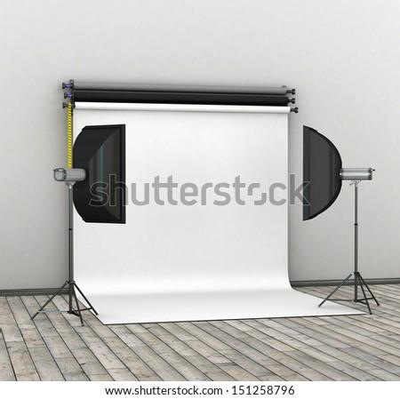 Empty photo studio interior with white background and lighting equipment. 3D render.  - stock photo