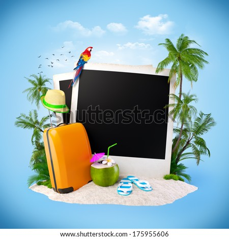 Empty photos on a sand. Tropical background. Traveling - stock photo