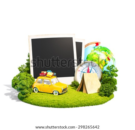 Empty photos, retro car and traveling equipment on a green meadow. Camping. Isoleted on white - stock photo