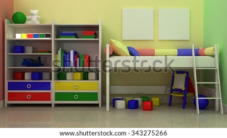 Empty picture frames in classic children room interior background on the decorative painted wall with rubber floor. Copy space image. 3d render