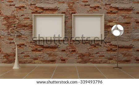 Empty picture frames in classic interior background on the old decorative brik wall with marble floor. Copy space image. 3d render