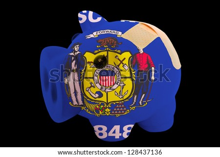 empty piggy rich bank in colors of flag of us state of wisconsin on black background - stock photo