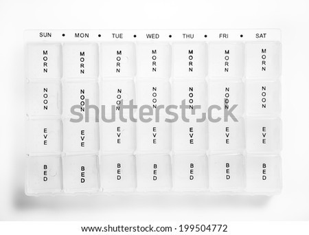 empty pill container box showing days of the week and times so you know what pills to take and when  - stock photo