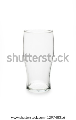 Empty pint glass isolated against white background.