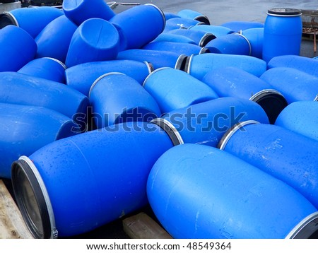 empty plastic barrels - stock photo