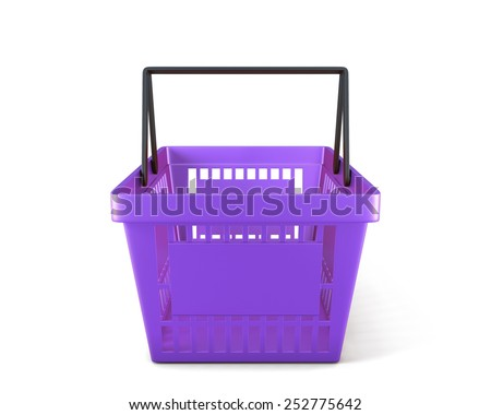 Empty plastic shopping basket clipping path. 3d illustration. - stock photo