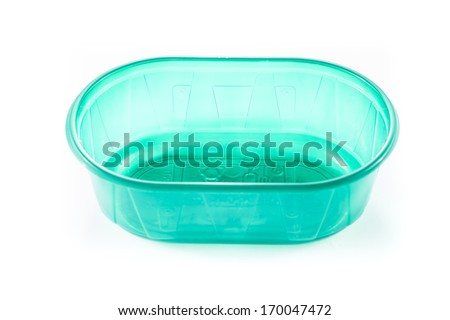 empty plastic storage for food in white background