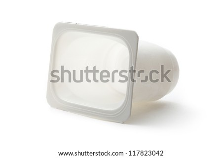 Empty plastic yoghurt pot on white