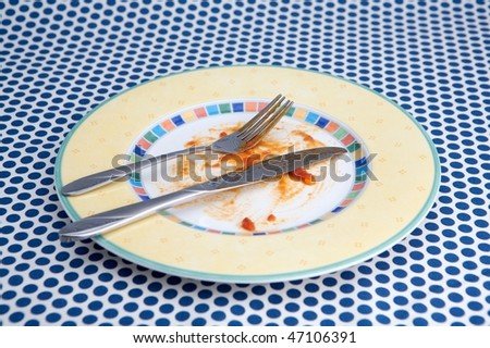 Empty plat with remnants food - stock photo