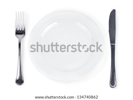 Empty plate, fork and knife - isolated on white background.