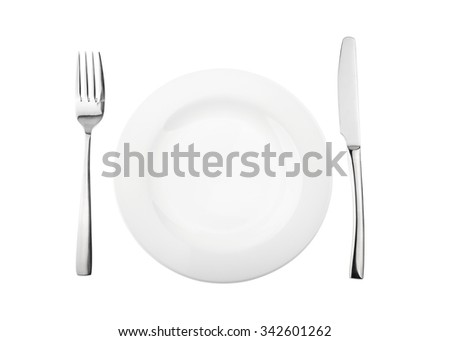 Empty plate, fork and knife isolated on white, without shadow