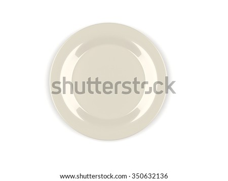 Empty plate, isolated, 3d render