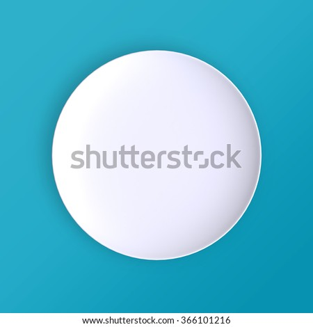 Empty plate. Isolated on blue background. View from above. 3d illustration. - stock photo