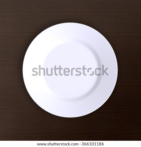 Empty plate. Isolated on dark wood background. View from above. 3d illustration. - stock photo