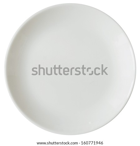 empty plate isolated on white background - stock photo
