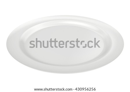 empty plate isolated on white background. 3d rendering