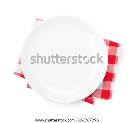 Empty plate over kitchen towel. Top view. Isolated on white background - stock photo