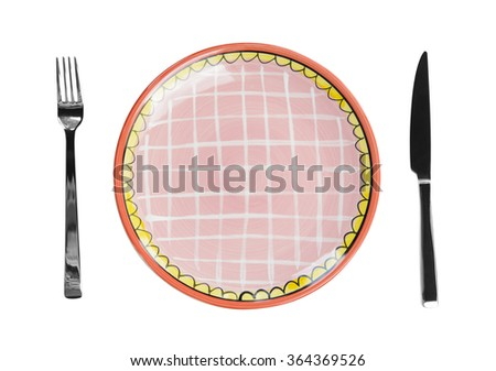 Empty plate with a knife and fork - stock photo