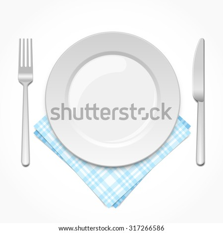 Empty plate with fork, knife and napkin