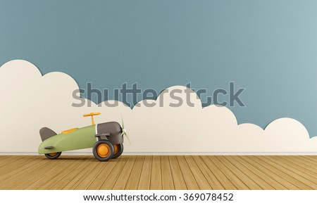 Empty playroom with toy airplane on wooden floor  and clouds - 3D Rendering - stock photo