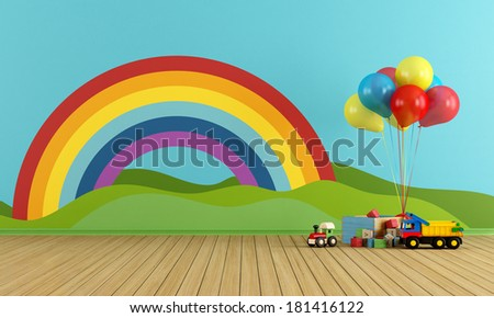 Empty Playroom with toys, rainbow,green hills, sun and clouds on the wall- rendering - stock photo